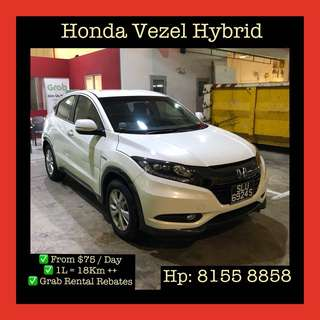 Honda Vezel Hybrid  - Grab Car Rentals, Uber Welcomed