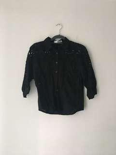 Black floral cut out button up blouse top