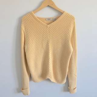 Vintage A-Line Yellow Ribbed Knit Sweater