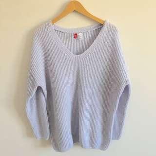 H&M Violet Oversized Ribbed V-Neck Knit Sweater