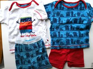 Preloved MOTHERCARE Mr. Stripey Cartoon Mix & Match Baby Top and Bottom Set of 2 - in very good condition with very minor flaw