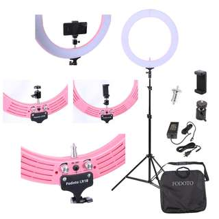 "Fodoto 18"" LED Pink Diva Ring Light Kit (for Beauty, Makeup, Photo & Video Use)"