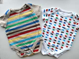 New & Preloved MOTHERCARE Set of 2 Colourful Stripes and Animals Baby Onesies - in excellent condition
