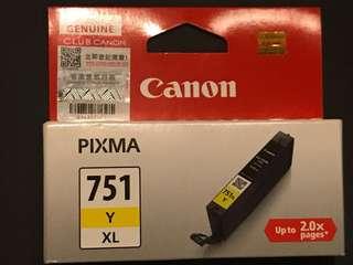全新 Canon 原裝正貨 未開封 打印墨水  CLI-751XL Y 黃色墨水盒 (高用量)