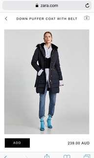 Current season Zara Down Jacket Coat - RRP $249