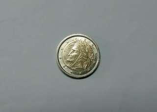 紀念幣2002年義大利發行首年 2 EURO (但丁頭像,眼睛明亮)