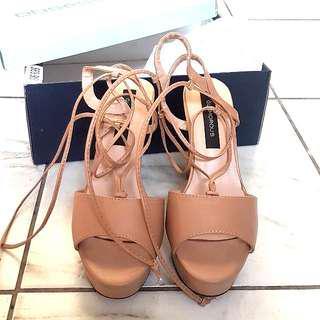 Platform Nude Wrap heels and brown heels