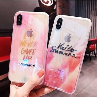 iPhone Case 夏天 粉色 Never Gives Up Hello Summer 硅膠全包軟殼