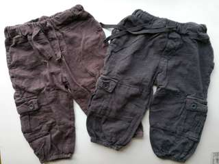 Preloved COTTON ON Set of 2 Baby Cargo Pants - very good condition