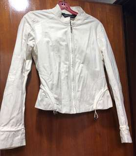 Biker Jacket Cream Off White Full Circle Size Small (S)