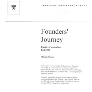 🚚 Harvard Business School Founders' Journey Notes - Elective Curriculum Fall 2017