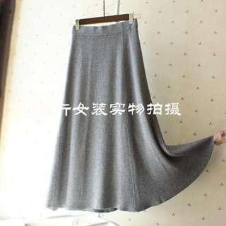 Grey elastic knitted long skirt dress