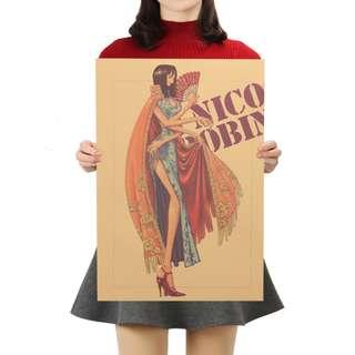 🚚 Premium Vintage Style One Piece| Nico Robin Portrait Poster