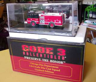 Code Three Chicago Fire Dept. 1:64 Die Cast Squad Ltd. Edition