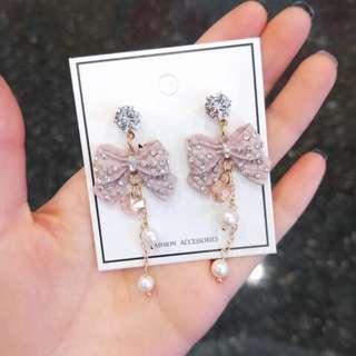 Korean design pink ribbon with pearl earrings
