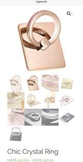 韓國製 HYone Swarovski 水晶手機指環扣 (黑/玫瑰金)