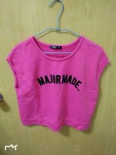🚚 Major made 桃紅寬鬆上衣