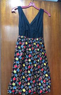 Casual Day Sleeveless Dress Black Top Crab-theme Skirt Size 8-10