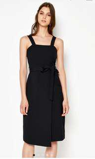Loveandbravery Lynt foldover dress with sash in black