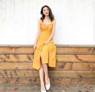 Yellow high waist sleeveless strap dress