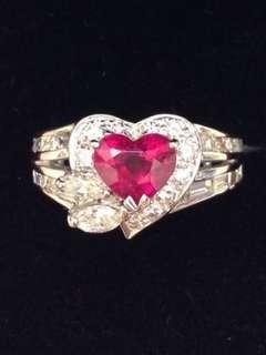 18K白金天然心型紅寶石1卡16份配天然鑽石1卡18份戒指