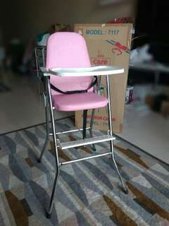 Baby High Chair | Model 7117 | Colour: Pink / Stainless Steel