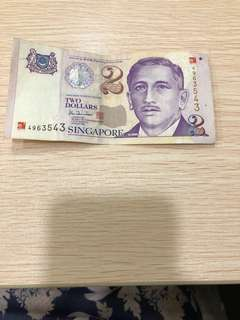 Singapore Millennium $2 note