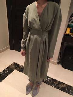 H&M Grey Green Dress Coat
