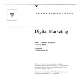 🚚 Harvard Business School Digital Marketing Notes - Elective Curriculum Spring 2018