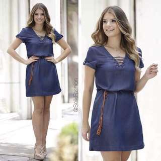 🌷U.s dress  ✅belt included  🌻Soft denim  💐one color 🌷fit s to L (One Size) 🎀Good Quality 💕