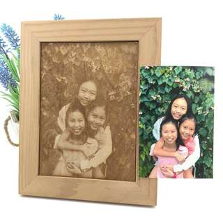🚚 Image Engraving on Wood with Frame