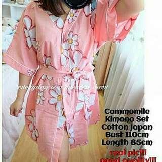 Cammomile Kimono Set,real pic, good quality, kimono full kancing + hotpants + tali obi