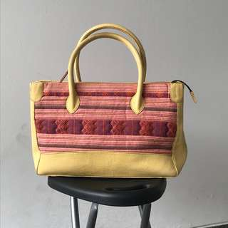 Hand bag batik kombinasi kulit asli (new old stock)