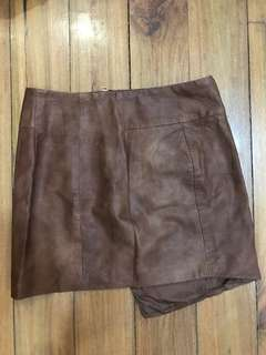 Brown H&M Leather Skirt