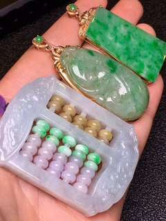 Natural abacus jadeite pendant with certificate