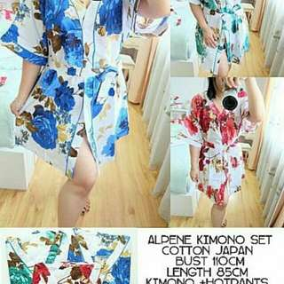 Alpene Kimono Set 85.000 Real pic, good quality,  kimono full kancing + hotpants + tali