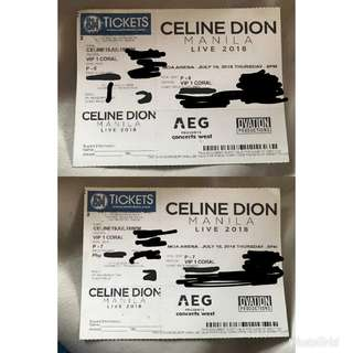 Celine Dion Vip 1 Coral Concert Tickets (July 19, 2018 - 8pm)