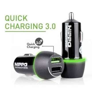 Charger Mobil Hippo Spear 2 Port USB Quick Charge 3.0