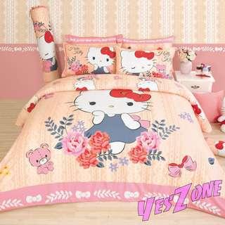 Yes Zone 卡通精品 sanrio正版 hello kitty 吉蒂貓 三件套床笠純棉被套四件套床單A