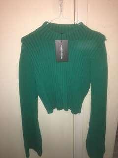 Green crop knit