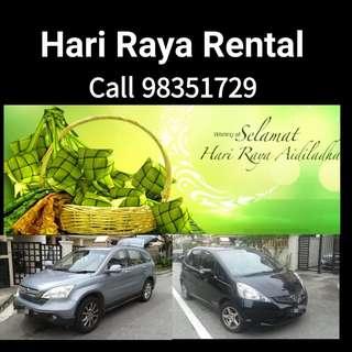 Hari Raya (22-25 June) car rental - call 98351729