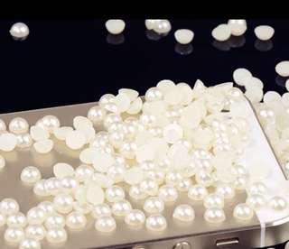 半面珍珠米白圆形平底水钻diy配件 - 100粒