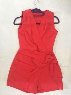 Zara紅色連身褲