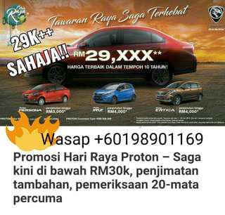 Proton Saga baru full Loan 0 deposit, skim graduan rm29k