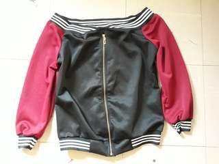 bomber jacket ofshoul style