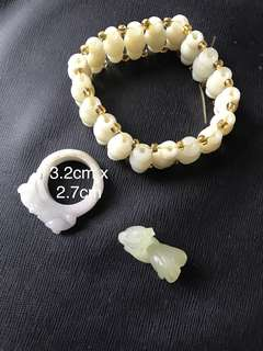 Lot of Three jade/Jadeite Bracelet/ring/rooster pendant