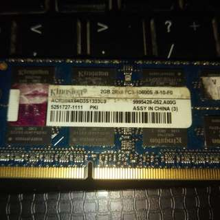 Kingston 2gb pc3-10600s ddr3-1333 sodimm laptop