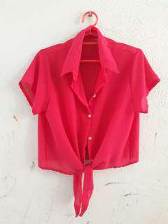 sheer hot pink blouse