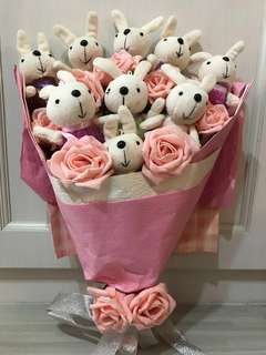 🚚 Rabbit Bouquet with Pink Roses (artificial)