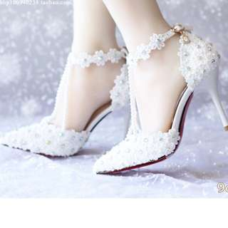 Shoes Collection - Noble SnowFlakes Flowers Straps Wedding Heel